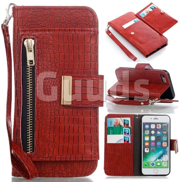 Retro Crocodile Zippers Leather Wallet Case for iPhone 8 / 7 (4.7 inch) - Purplish Red - Leather Case - Guuds