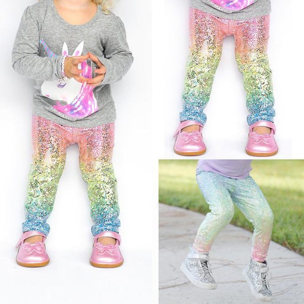 Kids Girl Baby Sequin Colorful Gradient Leggings Pants Trousers Clothes 1-6 Years