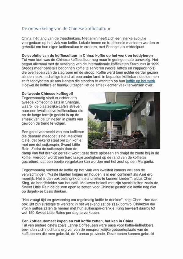 De ontwikkeling van de chinese koffiecultuur