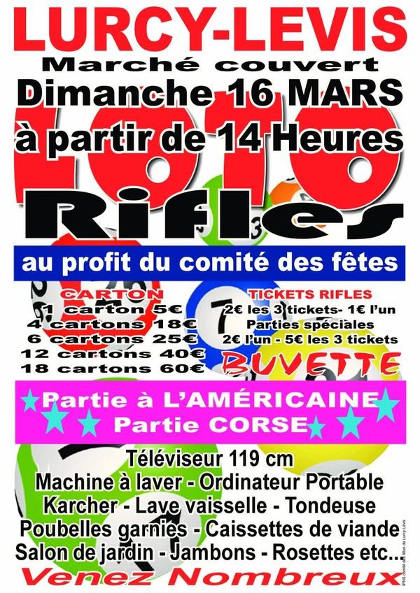 Loto-rifles du Comité des Fêtes de Lurcy Lévis(03) | Auvergne | La Région Juste et Grande