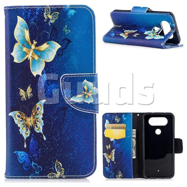 Golden Butterflies Leather Wallet Case for LG Q8 - Leather Case - Guuds