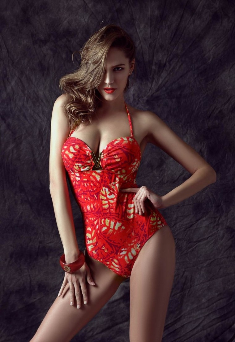 Aliexpress.com : Buy red colorful fabric sexy fashion elegant with V accessories one piece swimming wear swimsuit... | Pinitpic