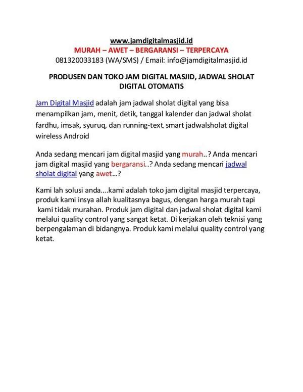 Jual Jam Digital Masjid, Jadwal Sholat Digital Otomatis Harga Murah