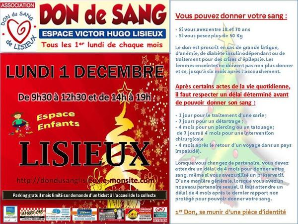 COLLECTE DE SANG DE DECEMBRE - Don du Sang de Lisieux
