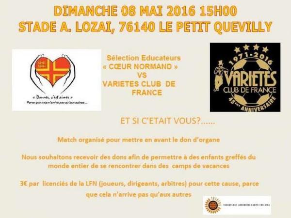 FCR - Match de bienfaisance sélection éducateurs « COEUR NORMAND » VS VARIETES CLUB DE FRANCE