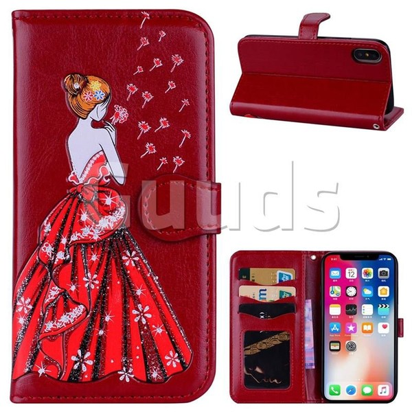 Dandelion Wedding Dress Girl Flash Powder Leather Wallet Holster Case for iPhone X(5.8 inch) - Red - Leather Case - Guuds