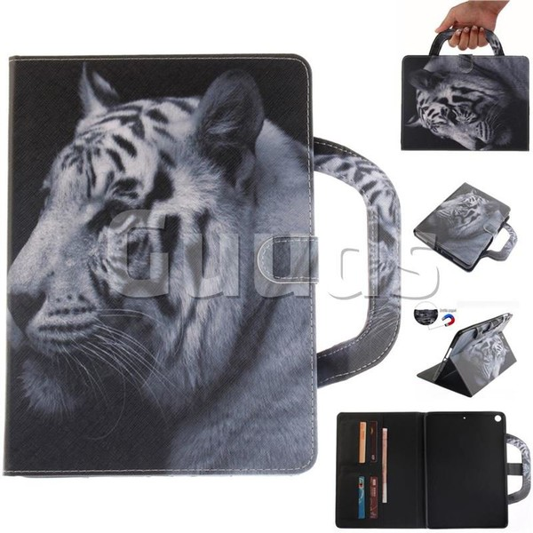 White Tiger Handbag Tablet Leather Wallet Flip Cover for iPad Pro 9.7 2017 9.7 inch - Leather Case - Guuds