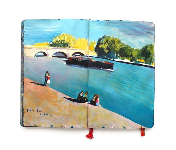 Two years of travel involved in Painting of Moleskine Notebook - NICE PLACE TO VISIT