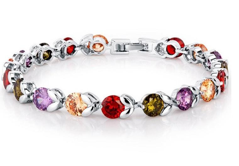 Couleurs Sterling silver 925 Cristal femme bracelet 17cm