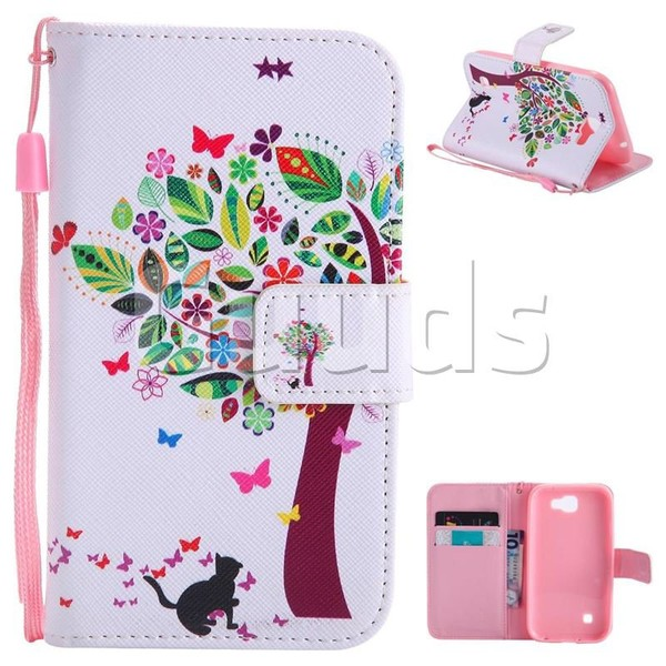 Cat and Tree PU Leather Wallet Case for LG K3 (2017) - Leather Case - Guuds