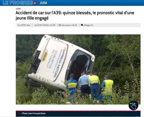 Jura : 15 blessés dont 2 graves dans l'accident d'un car transportant des enfants - SudOuest.fr
