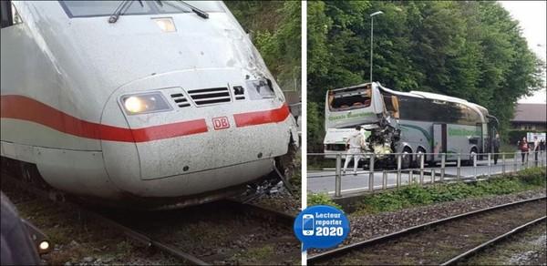 20 minutes - Car de tourisme heurté par un train: 17 blessés - Suisse