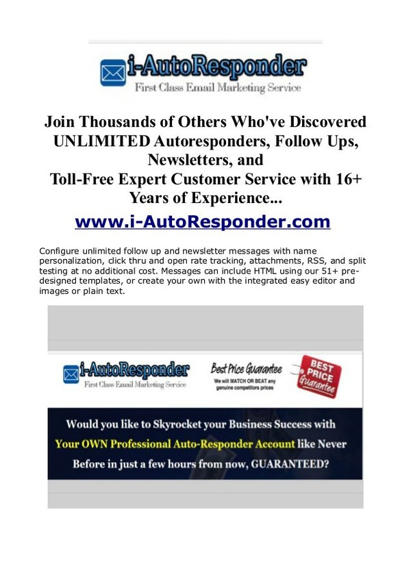 http://www.i-autoresponder.com/ UNLIMITED Autoresponder Service With NO Monthly Fees ... Unlimited emails, unlimited subscribers, unlimited lists ... Generate…