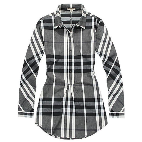 e820c50f Burberry Womens Long Dress Shirt Grey White Black [Long-Sleeve ...