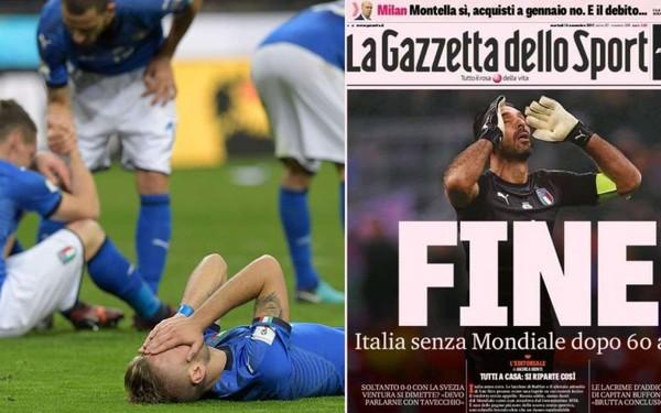 """""""Apocalypse"""", """"Honte"""": l'Italie pleure son élimination, la presse se déchaîne"""