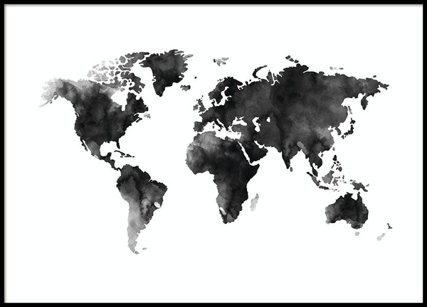 World Map Watercolor, Affiche - 20x40 - €13,95
