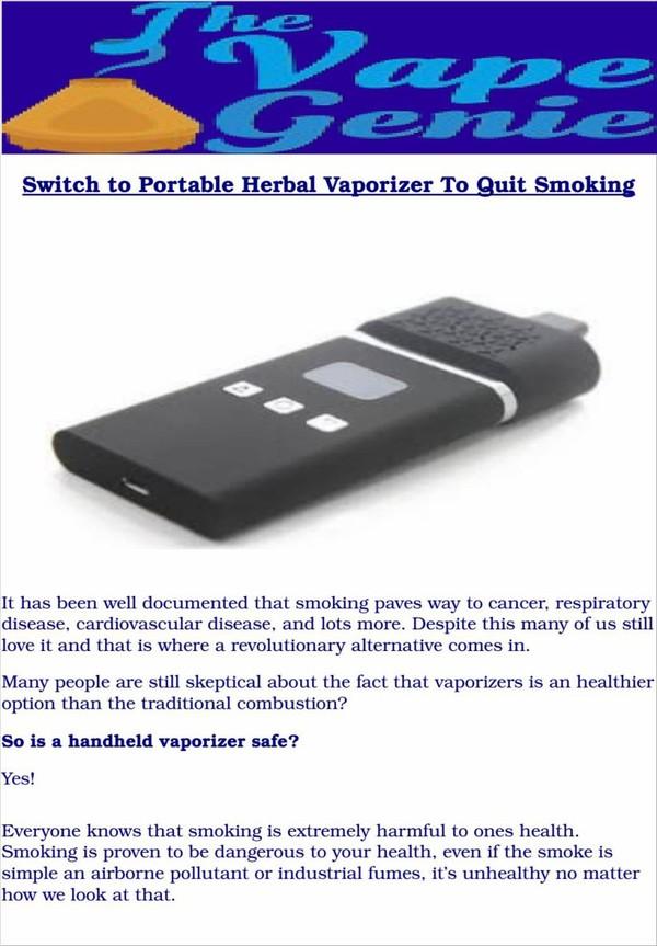 Switch to portable herbal vaporizer to quit smoking