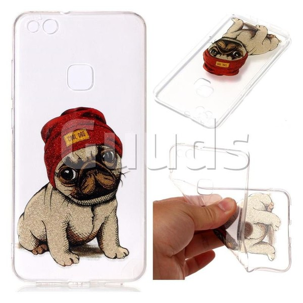 Pugs Dog Super Clear Flash Powder Shiny Soft TPU Back Cover for Huawei P10 Lite P10Lite - TPU Case - Guuds