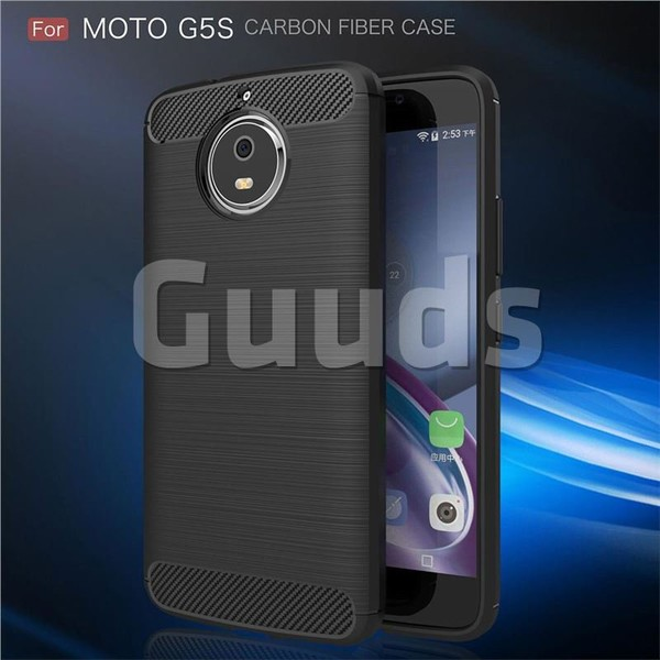 Luxury Carbon Fiber Brushed Wire Drawing Silicone TPU Back Cover for Motorola Moto G5S (Black) - TPU Case - Guuds