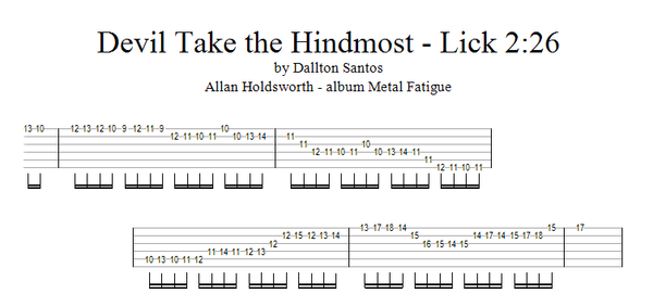 Dallton Santos - Rock & Fusion Guitar : Allan Holdsworth lick
