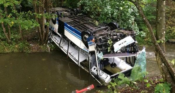 Grave accident à Clervaux : un bus dérape et tombe dans le ruisseau