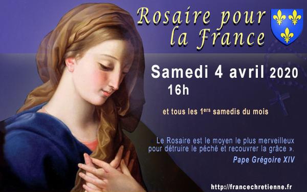 Rosaire pour la France – SAMEDI 4 AVRIL 2020 – 16h…* Jadis durant les grandes épidémies, les églises étaient combles, les processions ferventes, on consacrait les villes touchées à la S...