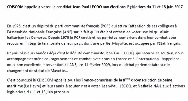 Image - LE CDISCOM APPELLE A VOTER JEAN - PAUL LECOQ ET SA SUPPLÉANTE DANS LA 8 EME CIRCONSCRIPTION - LE HAVRE
