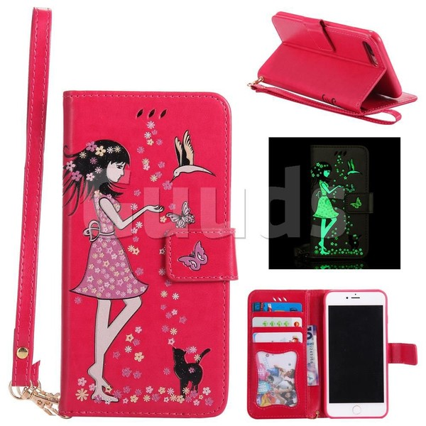 Luminous Flower Girl Cat Leather Wallet Case for iPhone 7 Plus 7P(5.5 inch) - Rose - Leather Case - Guuds