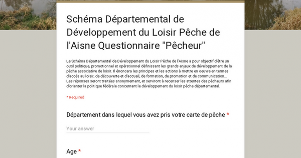 """Schéma Départemental de Développement du Loisir Pêche de l'Aisne Questionnaire """"Pêcheur"""""""