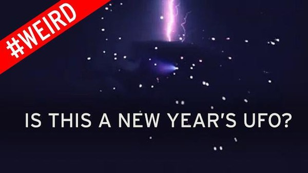 Bizarre UFO caught on camera as crowd gathers to watch New Year's fireworks
