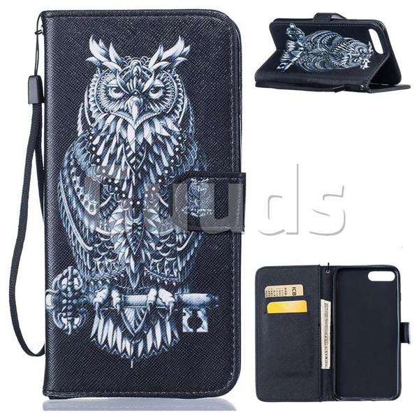 Black Owl PU Leather Wallet Case for iPhone 7 Plus 7P(5.5 inch) - Leather Case - Guuds
