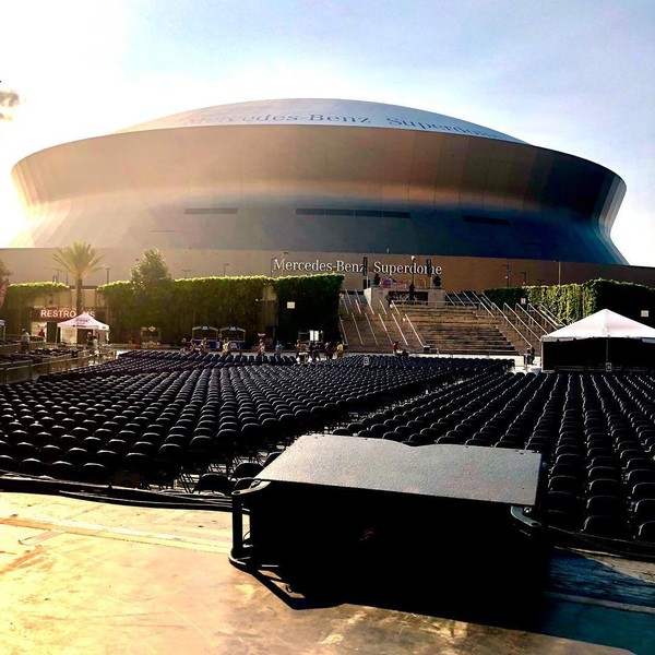 "Troy McLawhorn on Instagram: ""Great view of the Superdome from the stage at soundcheck today. #synthesistourus2018 #NOLA"""