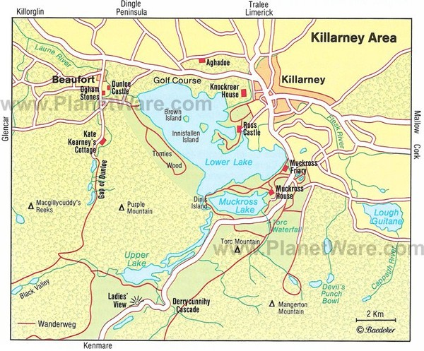 Map of Killarney Tourist Attractions | PlanetWare