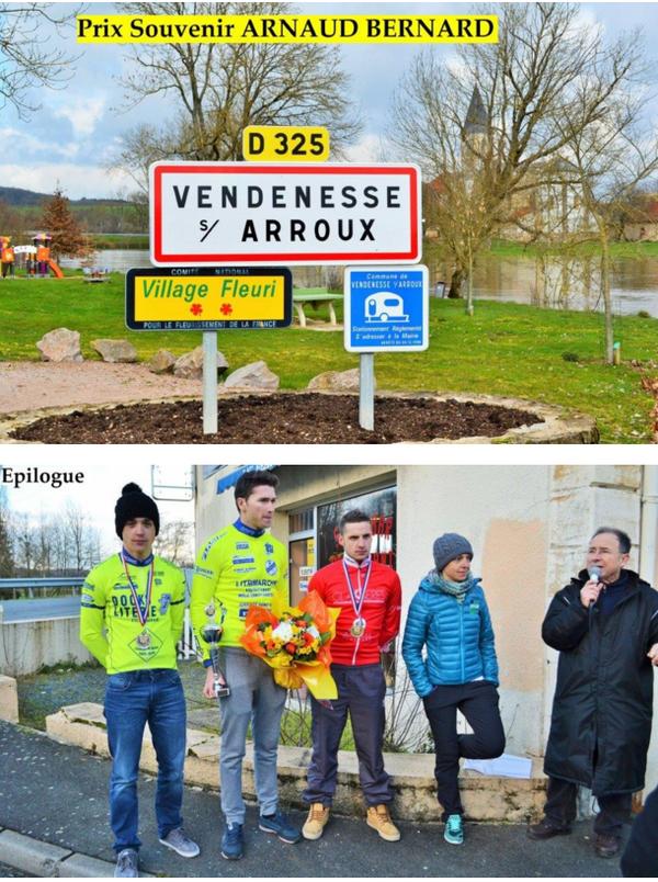 """Souvenir Arnaud Bernard à Vendenesse sur Arroux (71)  - 06 mars 2016 - c'est au sprint que se joua la """" gagne """" ; dans le """"mur"""" d'arrivée, c'est la fraîcheur et la puissance de Bas..."""