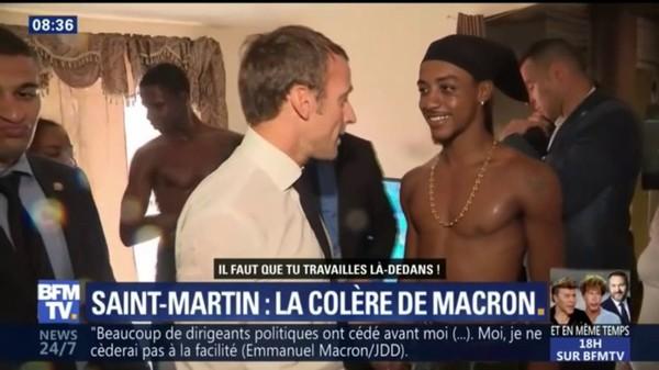 En visite à Saint-Martin, Emmanuel Macron fait la morale à un jeune braqueur