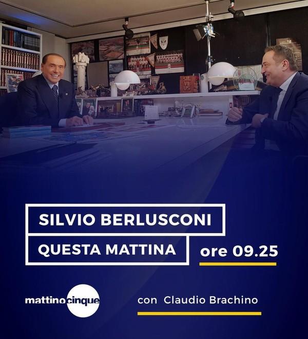 """Silvio Berlusconi on Instagram: """"Tra poco sarò intervistato da Claudio Brachino, in onda alle ore 09:25 a Mattino Cinque."""""""
