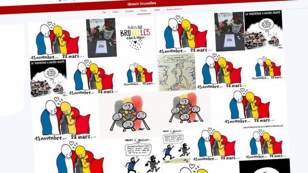 Attentats: les dessinateurs se mobilisent en solidarité avec Bruxelles