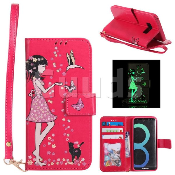 Luminous Flower Girl Cat Leather Wallet Case for Samsung Galaxy S8 - Rose - Leather Case - Guuds