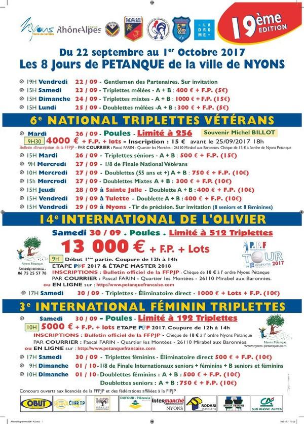 Les 8 jours organisés par Nyons Pétanque