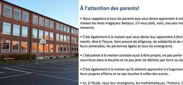 L'école veut que les parents prennent leurs responsabilités – la pancarte se propage maintenant sur Facebook