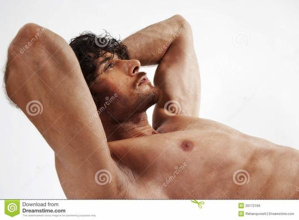 Verticales semi nues d'homme musculaire bel