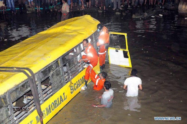 14 killed, 18 injured in Indian school bus accident - Xinhua   English.news.cn