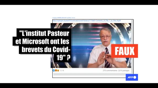 """""""Institut Pasteur & Microsoft ont les brevets du Covid-19"""": attention à cette vidéo contenant de multiples fausses informations"""