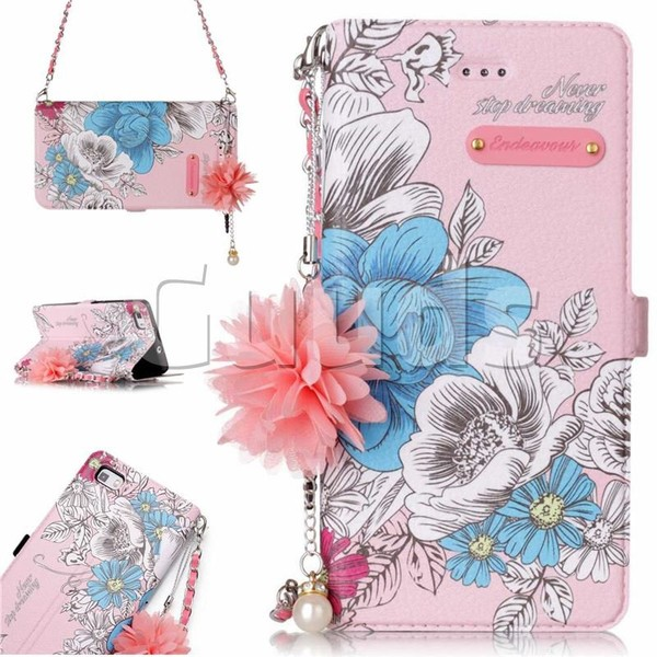 Pink Blue Rose Endeavour Florid Pearl Flower Pendant Metal Strap PU Leather Wallet Case for Huawei P8 Lite P8lite - Leather Case - Guuds