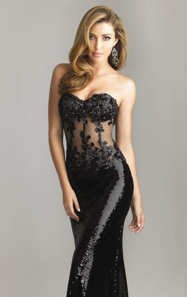 Sheath / Column Strapless Sleeveless Floor-length Paillette Black Prom Dress / Evening Dress