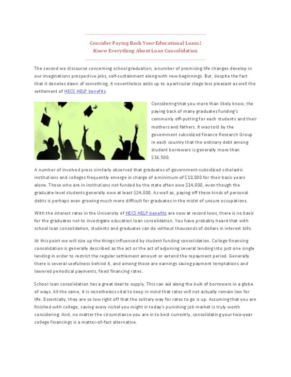 Consider Paying Back Your Educational Loans Know Everything About Loan Consolidation.pdf - PdfSR.com