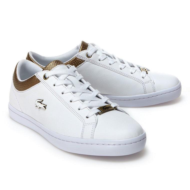 Sneakers Straightset Lacoste en cuir froissé pas cher - Baskets Femme Lacoste - Ventes-pas-cher.com