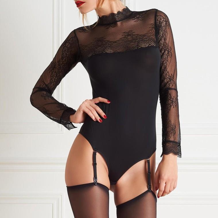 Body string noir Maison Close La Directrice - Body Lemon Curve - Iziva.com