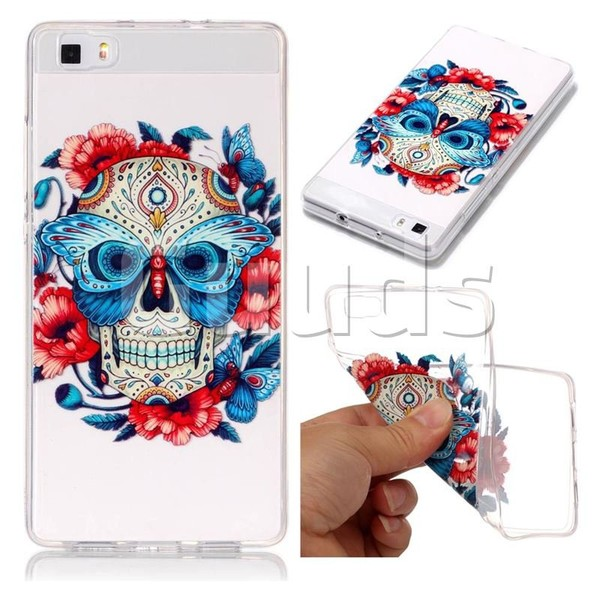 Butterfly Skull Super Clear Soft TPU Back Cover for Huawei P8 Lite P8lite - TPU Case - Guuds