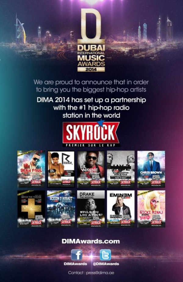 DUBAI INTERNATIONAL MUSIC AWARDS 2014 AVEC SKYROCK